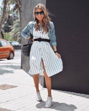 Zara Midikleid  Kleid Midi Gestreift Satin Blogger Hemdblusenkleid