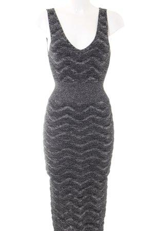 Zara Vestido a media pierna negro-color plata estilo fiesta