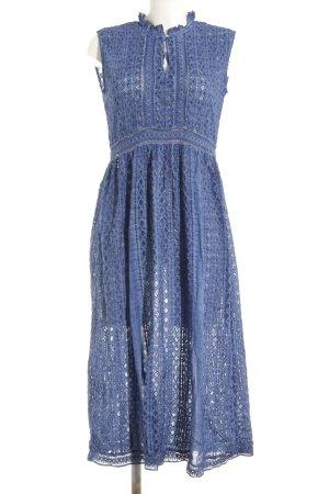 Zara Midikleid stahlblau abstraktes Muster Casual-Look
