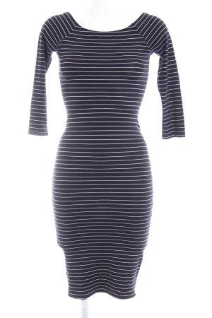 Zara Midikleid weiß-dunkelblau Streifenmuster schlichter Stil