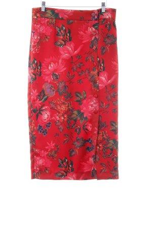 Zara Midirock dunkelrot-dunkelgrün florales Muster Casual-Look