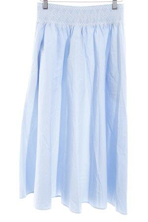 Zara Jupe mi-longue bleu azur-blanc Ornements brodés