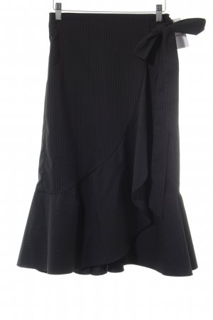 Zara Jupe mi-longue noir rayure fine élégant