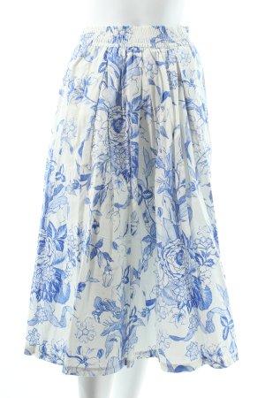 Zara Midirock wollweiß-blau Blumenmuster Casual-Look