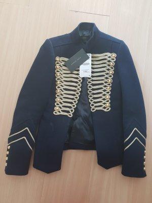 Zara Knitted Blazer dark blue-sand brown cotton