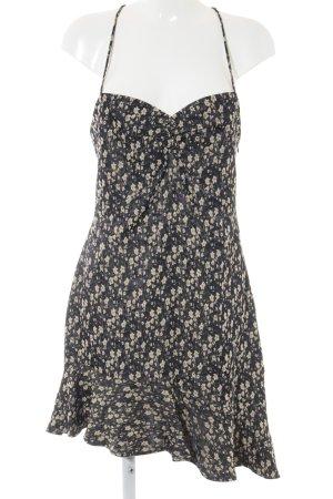 Zara Minikleid anthrazit-hellgelb Blumenmuster Casual-Look