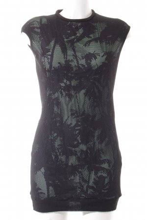Zara Minikleid schwarz-mint florales Muster Transparenz-Optik