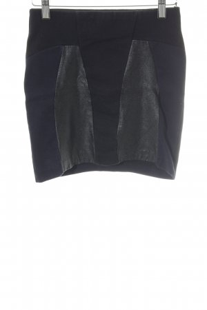 Zara Mini-jupe bleu foncé-noir motif graphique style extravagant