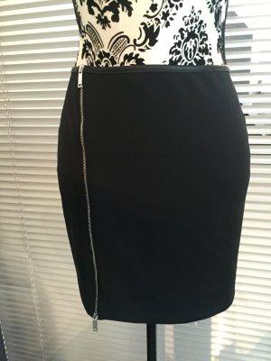 Zara Minirock Gr. L 38/40 Schwarz mit Reißverschluss vorne * NEU *
