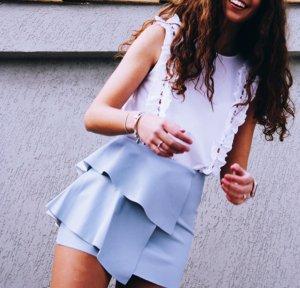 Zara Faux Leather Skirt azure imitation leather