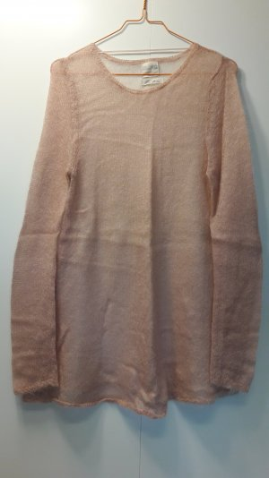 Zara Mohair Pullover leicht 2-Tone lockerer Schnitt rosa beige Gr. M