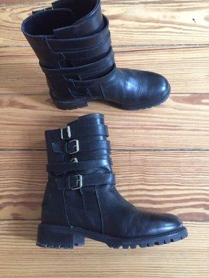 ZARA Motorradstiefel Motorcycle Boots Leder schwarz Schnallen Riemen - 38