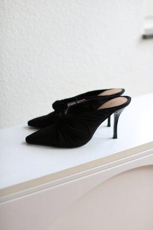 Zara Mules Pumps Schwarz Stoff Vintage Look Gr. 38 neu mit Etikett