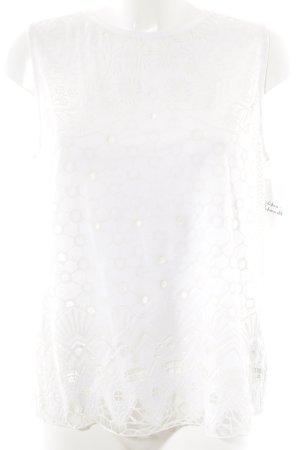 Zara Débardeur marcel blanc cassé-blanc motif floral style décontracté