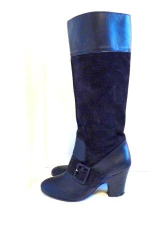 ZARA Nachtblaue *Lederstiefel*, Schnalle, Gr. 38, Top-Zustand