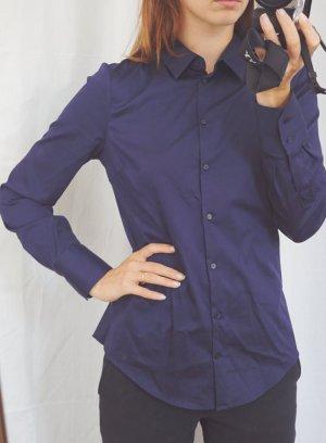 ZARA navyblaue Bluse Hemd Business dunkelblau Baumwolle 38 M