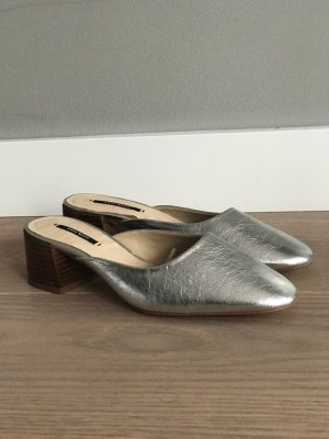Zara Mules silver-colored leather