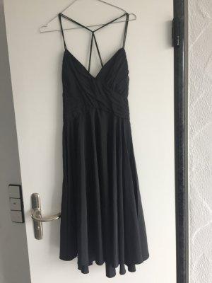 ZARA NEU Kleid länge Midi in schwarz glänzenden