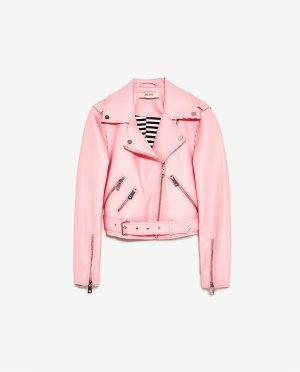 Zara Veste motard rose clair-rosé faux cuir