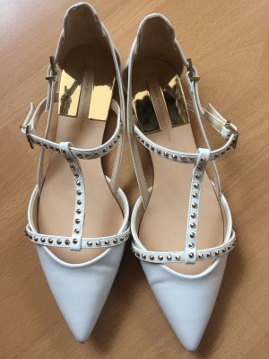 Zara Basic Platform High-Heeled Sandal white-yellow imitation leather