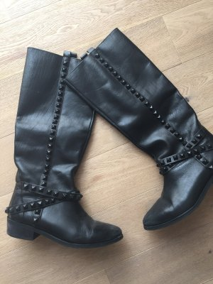 Zara Bottes d'hiver gris anthracite-noir cuir