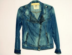 Veste en jean bleu-argenté coton