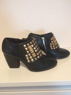 Zara Bottines à fermeture éclair noir cuir