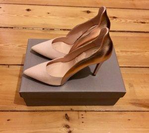 Zara Nude-Rosé Heels mit Metallic Details - New