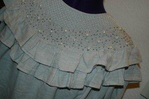 Zara Ruche blouse lichtgrijs Katoen