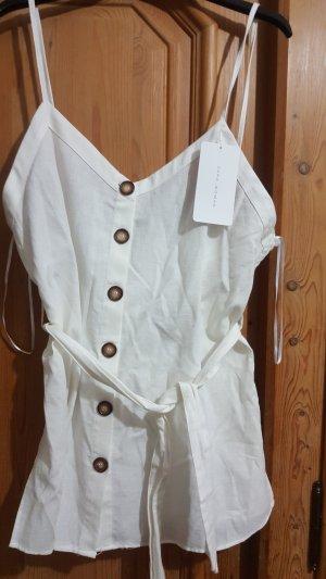 Zara Blusa sin mangas blanco