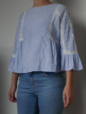 Zara Trafaluc Top de encaje azul claro-blanco Algodón