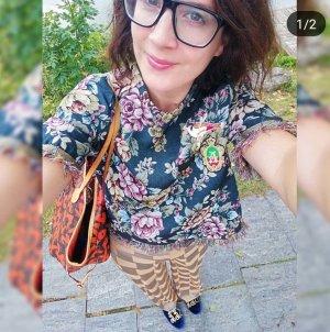 Zara Oberteil Floral Jacquard Shirt Bluse