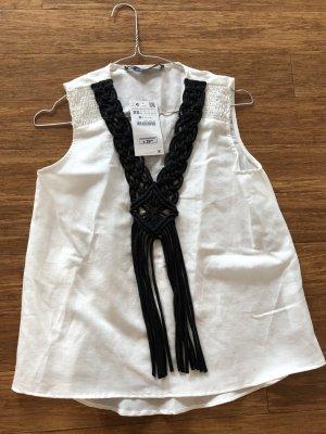 Zara Blouse Top white linen