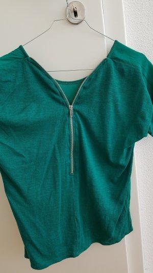 ZARA Oberteil mit Reißverschluss hinten grün S 36 Bluse Shirt