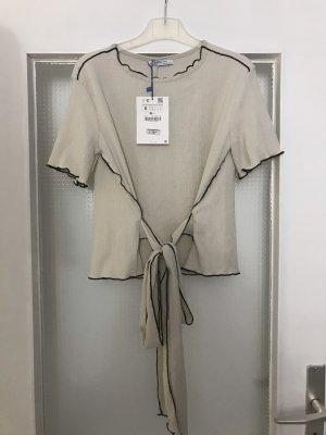 Zara Oberteil Shirt Bluse mit Schleife