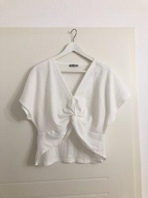 Zara Oberteil Top in Weiß mit Knoten