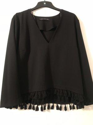 Zara Oberteil XL schwarz mit Fransen