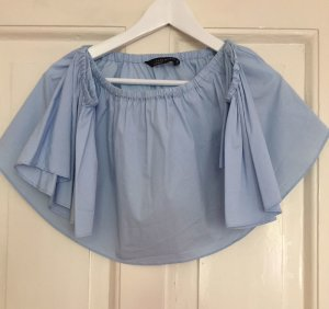 ZARA Off-Shoulder-Carmen-Top hellblau schulterfrei Top - S