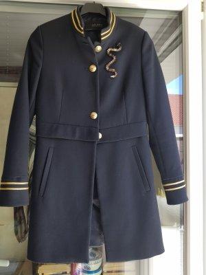 Zara Basic Gabardina tipo vestido azul oscuro