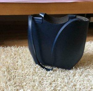 Zara Olivia Palermo Leder Bag Shopper Tasche Blau
