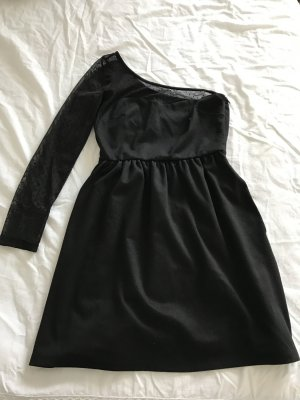 ZARA One Shoulder Kleid schwarz Mini Cocktail M 38 spitze