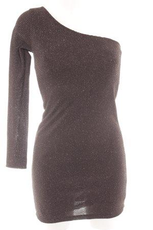 Zara One-Shoulder-Kleid schwarz-silberfarben Streifenmuster Elegant