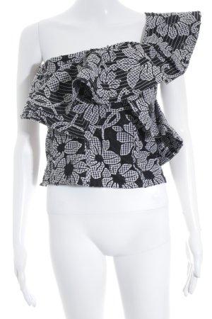 Zara One-Shoulder-Top schwarz-weiß florales Muster Romantik-Look