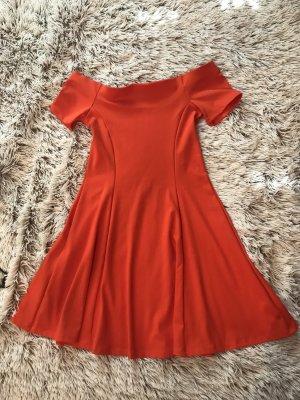 Zara Woman Abito senza spalle arancione