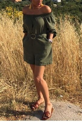 Zara Off the shoulder jurk khaki