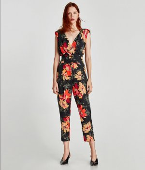 Zara Overall Jumpsuit Floral S