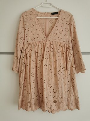 Zara Overall Kleid rosé Lochstickerei