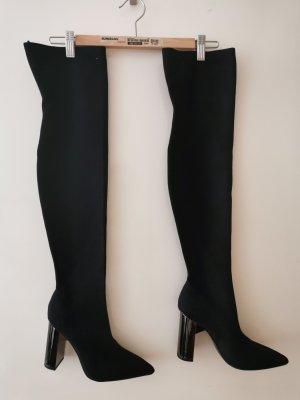 Zara Woman Overknees black-silver-colored