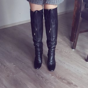 Zara Stivale cuissard nero Pelle