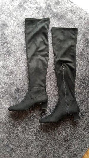 Zara Overknees 38 Schwarz Stiefel Suede Wildleder